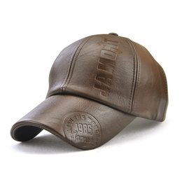 10bc8fa1 Faux leather cap online shopping - Personality Luxury Designer Brand  Vintage PU Leather Baseball Cap Warm