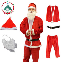 christmas hat santa claus costume cosplay santa claus clothes fancy dress in christmas man 5pcs set costume suit for adults