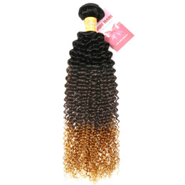 China 8A Ombre Brazilian Hair Weave Bundles Kinky Curly Weave Human Hair Bundles Three Tone 1b 4 27 Remy Blonde Hair Extension suppliers
