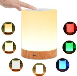 Portable Bedside Table Australia - KMASHI LED Bedside Table Lamps Touch Lamp Night Light Rechargeable Warm White Light RGB Color Bedrooms Living Room Portable