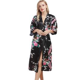 666ed7492b 2017 Chinese Female Silk Robe Dress Sexy Kimono Yukata Gown Peacock And  Flower Printed Pajamas Long Style Satin Wedding Robes LP
