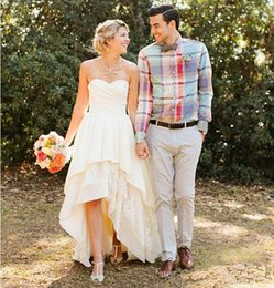 $enCountryForm.capitalKeyWord Canada - 2019 Sweetheart High Low Wedding Dresses Tiered Skirts Floor Length Chiffon Pleats Bridals Gown Cheap Plus Size Bridal Dresses