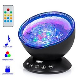 Night Lights Ocean Wave Projector Lamps, Lighting & Ceiling Fans Remote Control Night Light Lamp 7 Colorful Projector...