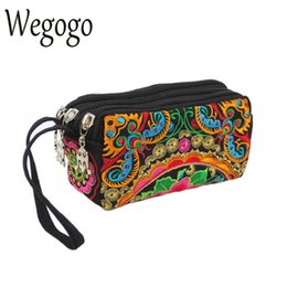 Wholesale Wegogo Vintage Bag Women Canvas Wallet Retro Purse Flowers Embroidery Day Clutches Phone Coins Purse Card Holder Money Bag
