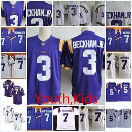 Youth NCAA LSU Tigers Odell Beckham Jr College Football Jerseys Kids Patrick  Peterson Tryann Mathieu DJ. Chark LSU Tigers Jersey S-XL d0f1d1df2