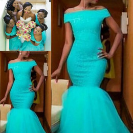 Lace coraL online shopping - 2019 Country Mermaid Turquoise African Bridesmaid Dresses Off The Shoulder Plus Size Lace Maid of Honor Bridal Party Wedding Guest Gowns