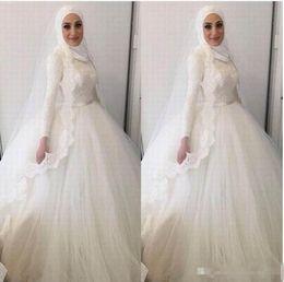 $enCountryForm.capitalKeyWord Australia - 2018 Modern Muslim Hijab Ball Gown Wedding Dresses High Neck Lace Appliques Beads Dresses Dubai Arabic Lace Wedding Gowns