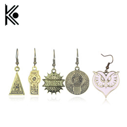 $enCountryForm.capitalKeyWord Australia - Fantastic Beasts and Where to Find Them Logo earrings Retro bronze Women Earring triangle United States Congress earring