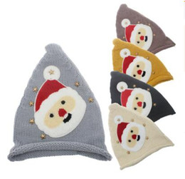 3af6934145d01 5 colors Christmas Baby Boys Girls Santa Claus knitting hats infant Knit  wool cap kids Xmas hat