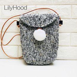 LilyHood 2018 Spring Women Wool Shoulder Bag Female Pom Pom Boho Chic Karea  Sytle Fabric Cute Envelope Flap Gray Crossbody Bag 46cad51a2d
