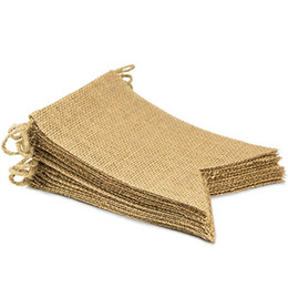 $enCountryForm.capitalKeyWord UK - DHL Natural Linen Swallowtail Burlap Flag Banner for Booth Birthday Graduation Country Wedding Baby Camping Theme Party Decoration Banner