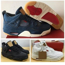 5b20a3004cfd99 Shoes Jeans Canada - 2018 New 4 4s Black White Denim Jeans Basketball Shoes  Men Blue