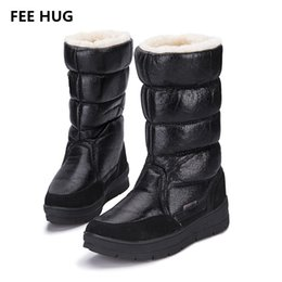 Lady Snow Boots Mid Calf Australia - FEE HUG -30 Russia Winter Warm Snow Boots For Women Platform Waterproof Pu Leather Women Boots Mid-Calf Fur Cotton Ladies Shoes