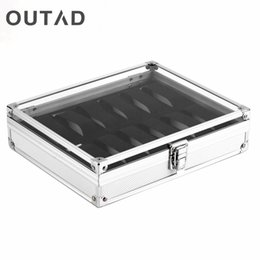 Storage Box Case Aluminium Canada - OUTAD 12 Grid Slots Jewelry Watches Display Storage Square Box Case Aluminium Suede Inside Holder Luxury Gift Winder Organizer