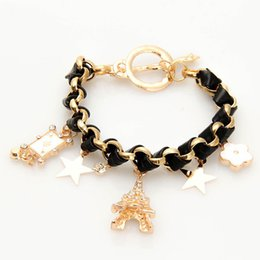 Wholesale 1pc High Quality Eiffel Tower Stars Flowers Playing Cards Leather Rope Bracelets Fashion Creativity Women Bracelets Jewelry