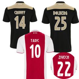 1d3cb9494 Top Thailand 18 19 TADIC ajax away soccer jerseys CRUYFF HUNTELAAR home football  shirt kit 2018 2019 DOLBERG VAD DE BEEK ZIYECH Maillot