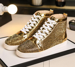 8b30003fb30f High Quality Men s Leisure Flats Fashion Red Bottom Sneakers Shoes Strass  Luxury Women Casual Party Wedding Dress Sneaker