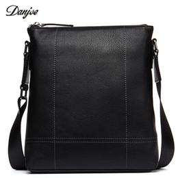 18c5754dbb DANJUE Male Messenger Bag Genuine Leather Vertical Black Shoulder Bag  Leisure Daily Business Casual Leather Crossbody