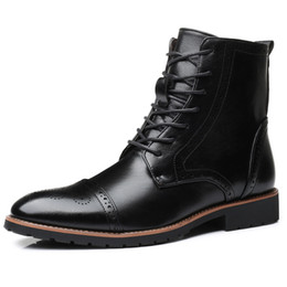 a677c951833 New Mens Ankle Boots Lace-Up Fashion Motorcycles Boots Vintage Brogue Shoes  Casual Non-slip PU Leather Mujer Chaussure