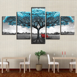 Impressionist Tree Paintings NZ - Modern Canvas Painting Wall Art Modular Poster 5 Panel Blue Tree Landscape Frame HD Printed Living Room Pictures Home Decoration