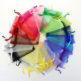 Wholesale 7*9cm Jewelry Bags MIXED Organza Jewelry Wedding Party favor Xmas Gift Bags Purple Blue Pink Yellow Black With Drawstring on Sale