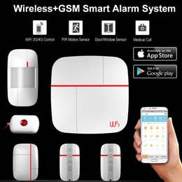 wifi gsm security system Canada - Wireless WiFi + GSM Home House Alarm System Multi language Smart Security Burglar Intelligent Voice Prompt Alarm Sensor Kit
