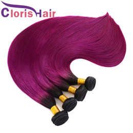 two toned purple hair weave 2020 - Back To School Sale Raw Indian Virgin Hair Bundles Ombre 1B Purple Silky Straight Human Hair Weaves Two Tone Dark Roots