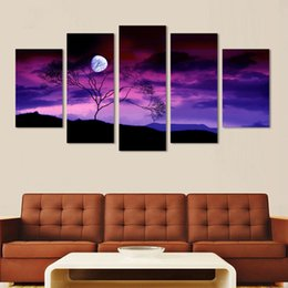 Multi Panel Canvas Prints Australia - HD Canvas Pictures Modern Living Room Printed Painting Wall Art 5 Panel Moon Tree Night Modular Poster Home Decor Frame