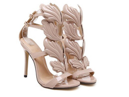 Flame metal leaf Wing High Heel Sandals Gold Nude Black Party Events Shoes  Size 35 to 40 d0369f1f5eb1