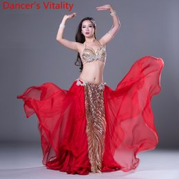 a005e2f0b1 Slap-up Girls Women Lady Belly Dance Sexy Diamond Bra Sequin Cut out Skirt  Competition Performance Suit Belly Indian Oriental Dancewear Sets