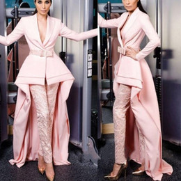 Charming suits online shopping - Elegant Pink Prom Dresses With Pants High Low Lace Evening Gowns Illusion Custom Made Charming Formal Suit Evening Wear