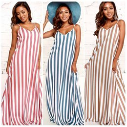 f9cad75a76 Beach Vacation Maxi Dresses Canada - Women Summer Sexy V Neck Sleeveless  Striped Maxi Long Dress