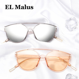 Cheap Sale el Malus new Oval Thin Frame Sunglasses Women Mens Reflective Silver Lens Mirror Tan Pink Shades Sexy Ladies Sun Glasses Oculos