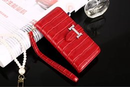 6993cb575641e Faux Krokodil Leder Flip Wallet Phone Case Streifen Stand Bracket Holster  Shell Tide Armband Seil Handtasche für iPhone X 7 Samsung S9 Plus