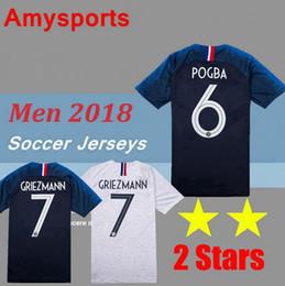e6bb63a7b4d 2 stars 2018 MBAPPE Soccer Jersey 7 GRIEZMANN  6 POGBA HOME away white  Soccer Shirt 2018 world cup  13 KANTE football Uniform S-XXXL