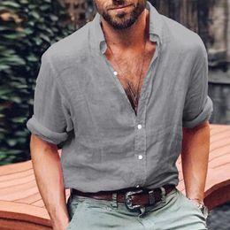 $enCountryForm.capitalKeyWord Australia - Fashion Cool Man Long Sleeve Henley Shirt Daily Solid Cotton Linen Loose Shirts Male Basic Plain V-Neck Tops Blouse 2018 Summer