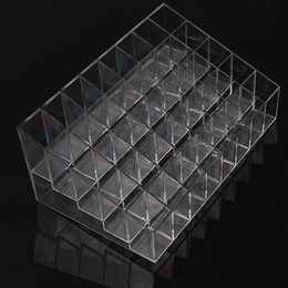 Quality Blue Lipstick NZ - Trapezoid Clear Makeup Display 40 Lattices Lipstick Stand Case Cosmetic Organizer Holder Box Hot sale High Quality ZQ678406