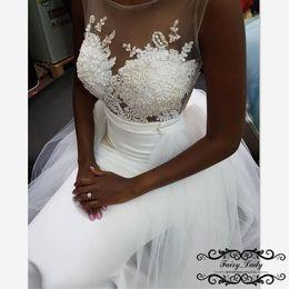 White Wedding Gowns Australia - 2018 Detachable Train Overskirts Lace Wedding Dresses Mermaid Sheer Neck Appliques Beads White Long Bridal Dress Gown Vestido De Noiva