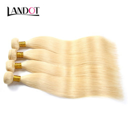Wholesale Hair Color Dye Australia - 9A Bleach Blonde Color 613# Brazilian Peruvian Malaysian Indian Straight Virgin Human Hair Weaves Bundles Remy Hair Extensions Can be Dyed