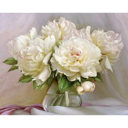Peony flower oil painting online peony flower oil painting for sale digital diy oil painting by numbers figure wall decor picture on canvasoil paint coloring by number drawing white peony flower mightylinksfo Choice Image