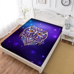 owl sheets bedding NZ - Colorful Animal Owl Print Bed Sheet Purple Galaxy Fitted Sheet Twin Full King Queen Bedclothes Deep Pocket Mattress Cover D35