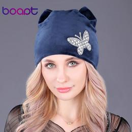 29bde301 Wholesale- [boapt] flannel velvet double-deck winter warm hat female  skullies diamond butterfly cap women's winter hats cat ears beanie