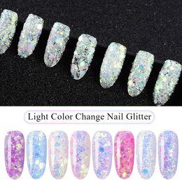 Light Color Mixing Australia - MEET ACROSS 1 Box 3D Nail Light Color Change Purple Pink Mix Nail Glitter Powder Sequins Powder For Art For Gel Polish