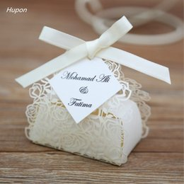 10pcs laser cut rose flower wedding gift boxes with tags party favors paper bag wedding bridal shower decorations supplies white
