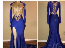 High Collar Evening Dresses Prom Canada - Arabic Gold Appliques High Collar Prom Dresses Mermaid Vintage Long Sleeves 2018 Sexy High Thigh Split Black Girls Evening Gowns