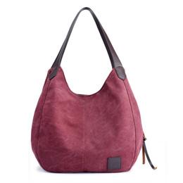 1edc968984719 Marke Frauen Leinwand Handtaschen Hohe Qualität Weibliche Hobos Einzelner  Schulterbeutel Vintage Solide Multi-Tasche Damen Totes Taschen