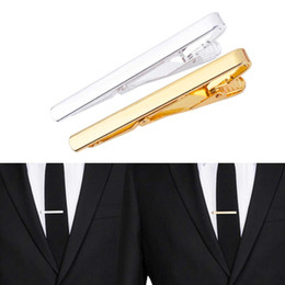 Discount ties pins - Fashion Metal Silver Gold Simple Necktie Tie Bar Clasp Clip Clamp Pin for men gift