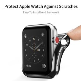Gold case for apple watch online shopping - TPU Frame Case cover For Apple Watch band mm mm iwatch protective screen protective protector plating shell