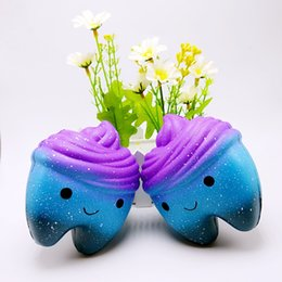 Discount cloth toys patterns - Scented Slow Rising Squishies Starry Sky Pattern Teeth Shape Simulation Toys Stress Reliever Squishy Blue Purple 10 5bq