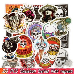 laptop toilet NZ - 20 PCS Punk Skull Vinyl Stickers Bomb Horror Doodle Decals Waterproof for DIY Laptop Skateboard Guitar Bicycle Motorbike Decoration Gifts